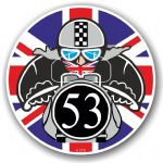Year Dated 1953 Cafe Racer Roundel Design & Union Jack Flag Vinyl Car sticker decal 90x90mm